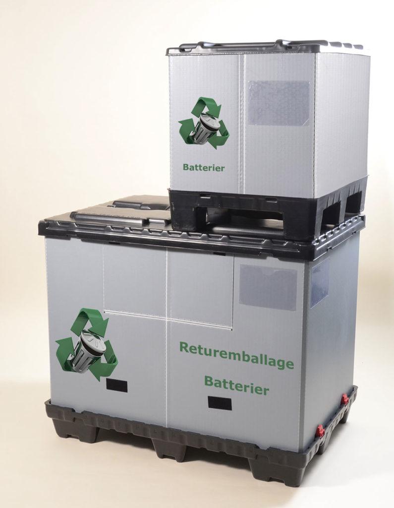 Returemballage återvinning fällbara pallboxara storlekar